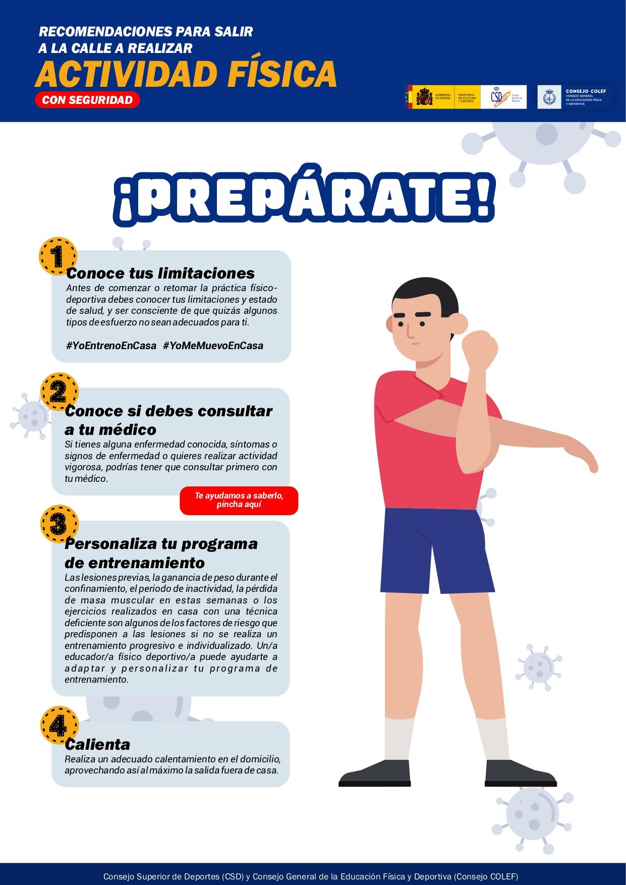 Recomendaciones para salir a la calle a realizar actividad física